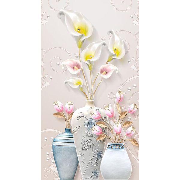 Tranh dán tường 3D bình hoa loa kèn TDT12 (100x150cm)