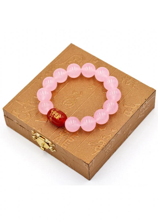 Vòng tay chuỗi hạt đá thạch anh hồng 14 ly Thái tuế phù DTTH31 kèm hộp gỗ