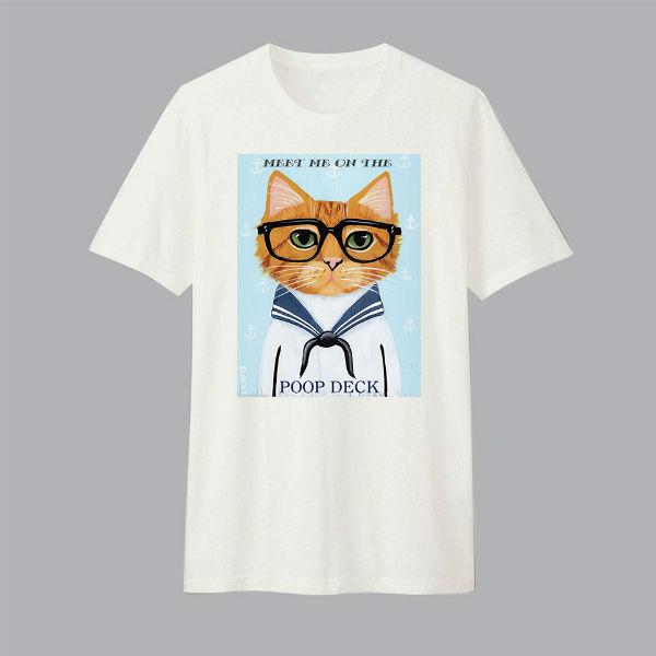 Áo T-shirt Trẻ Em Sailor Cat Dotilo HU012 - Trắng