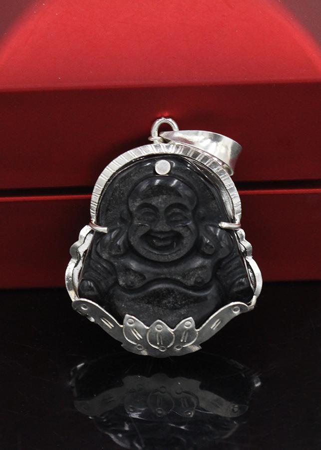 Mặt Dây Chuyền Phật Di Lặc Đen Nhỏ Bọc Bạc VCB