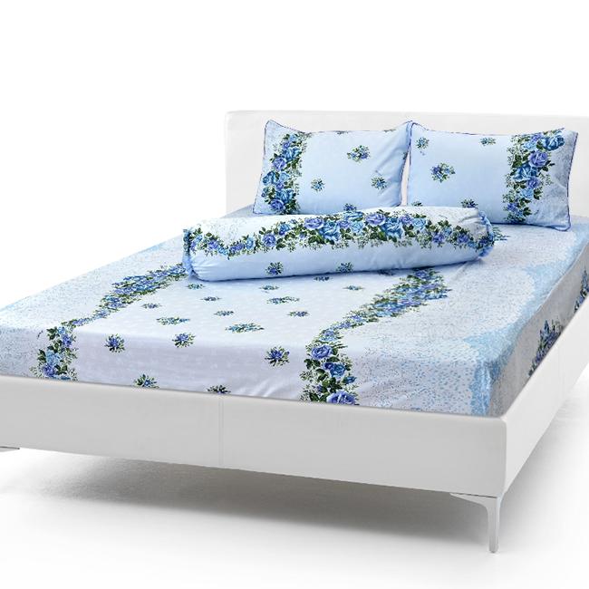 Bộ Drap Cotton Vải Thắng Lợi Áo Gối Chần Gòn 1,8x 2m hoa dây biển