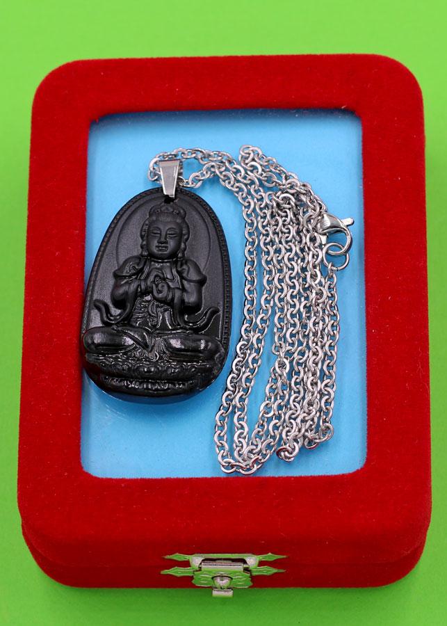 Vòng cổ phật Đại Nhật Như Lai - thạch anh đen 3.6cm DITTEB5 - dây inox bạc - kèm hộp nhung - tuổi Mùi, Thân