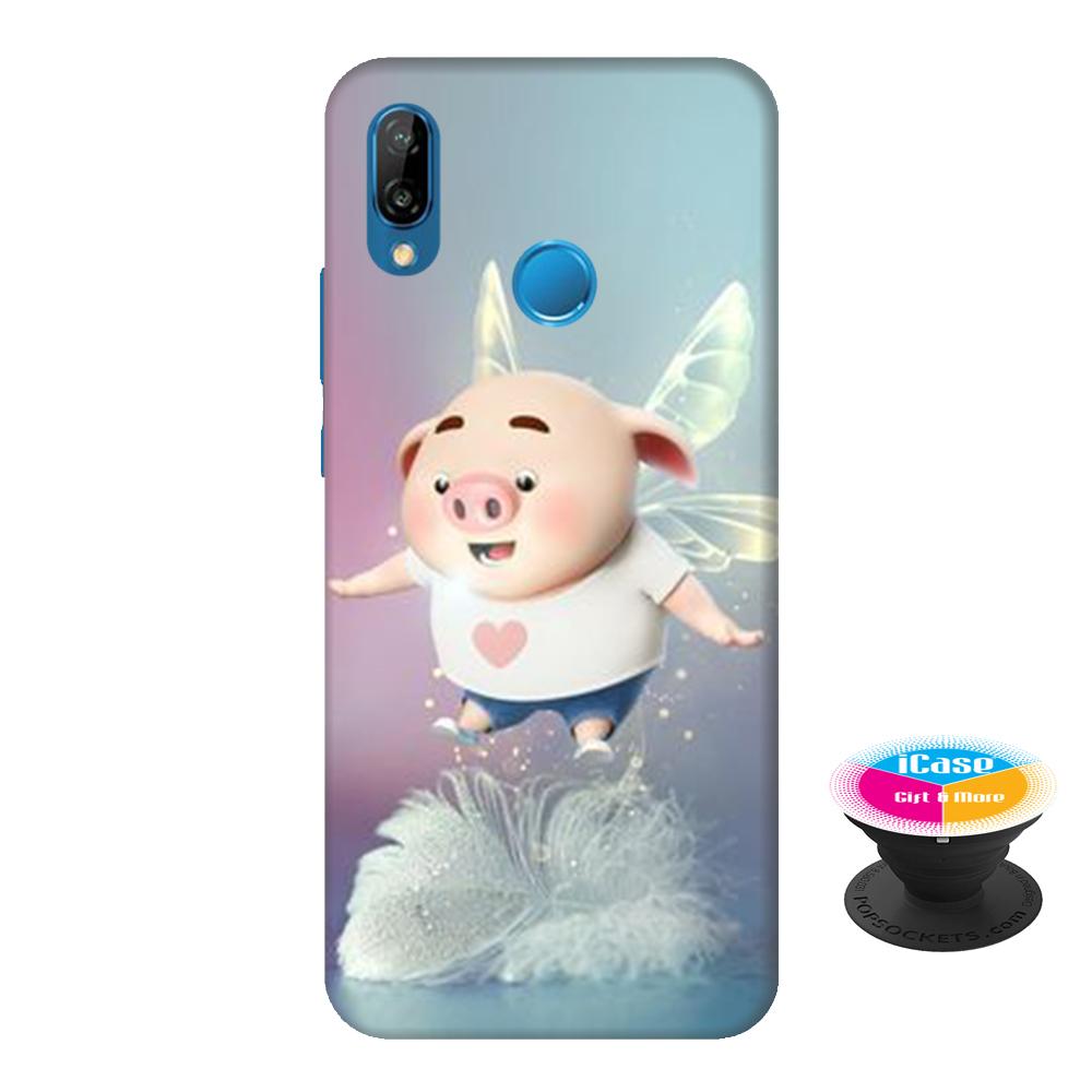 Ốp lưng nhựa dẻo dành cho Huawei Nova 3E in hình Heo Con Lông Vũ - Tặng Popsocket in logo iCase - Hàng Chính Hãng