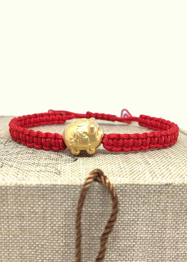 Vòng Tay Thắt Dây Mệnh Hỏa - Đỏ Mix Lợn Vàng 999