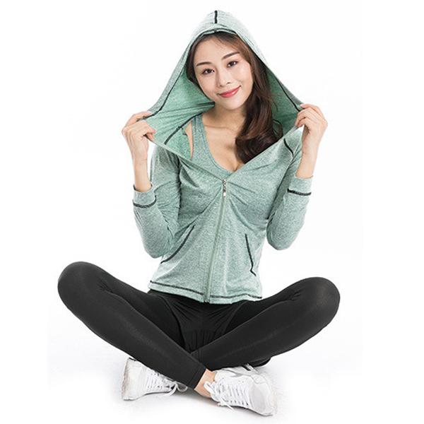 Bộ quần áo thể thao nữ tập Gym Yoga 5in1 (áo khoác, áo phông, áo ngực, quần đùi, quần dài) POKI