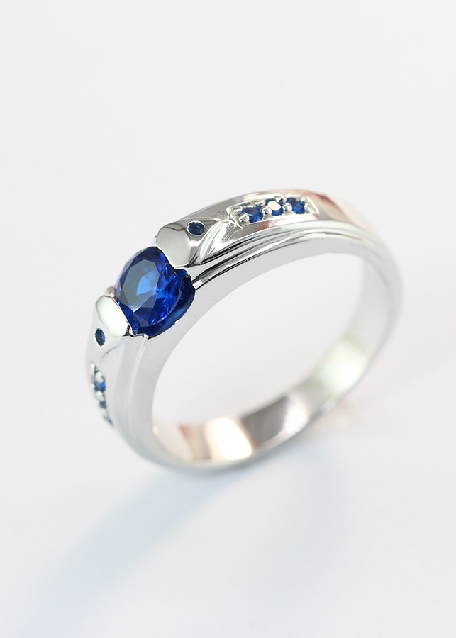 Nhẫn bạc nam  mặt đá xanh dương NNA0087