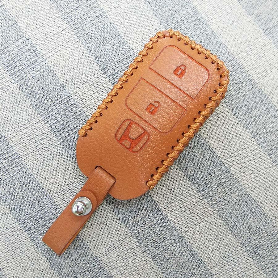 Bao da 2 nút chìa khóa smartkey cho xe hơi Honda (Nâu)
