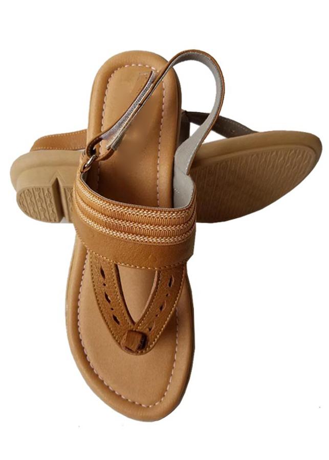 Giày Sandal Nữ Da Bò Thời Trang Màu Nâu - TC03667