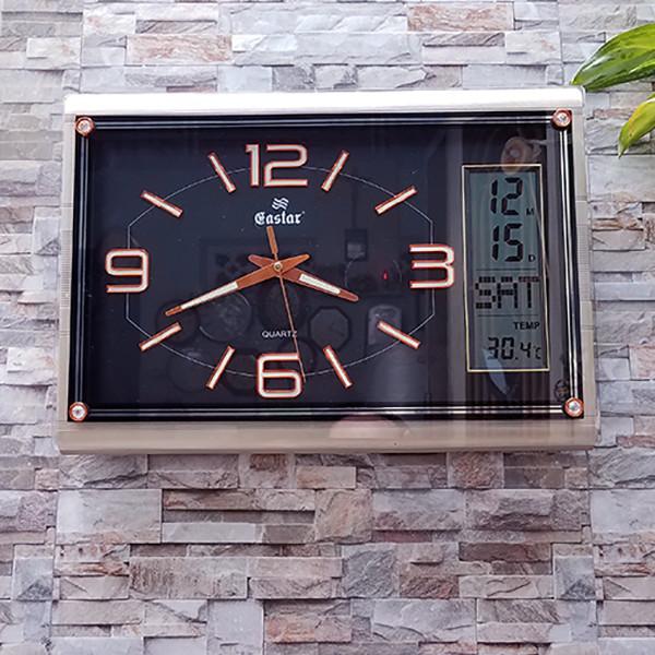 Đồng hồ Eastar Chữ nhật Dạ Quang (*), Kim Trôi  Màn hình Điện tử Lịch, Nhiệt Độ