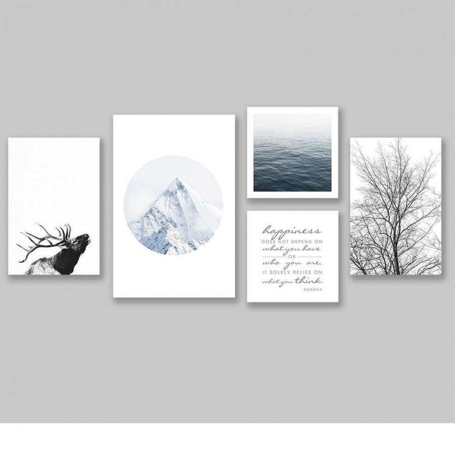 Bộ tranh Nature, Mountain, sea, deer, tree
