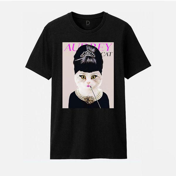 Áo T-shirt Trẻ Em Audrey Cat B Dotilo HU013A - Đen