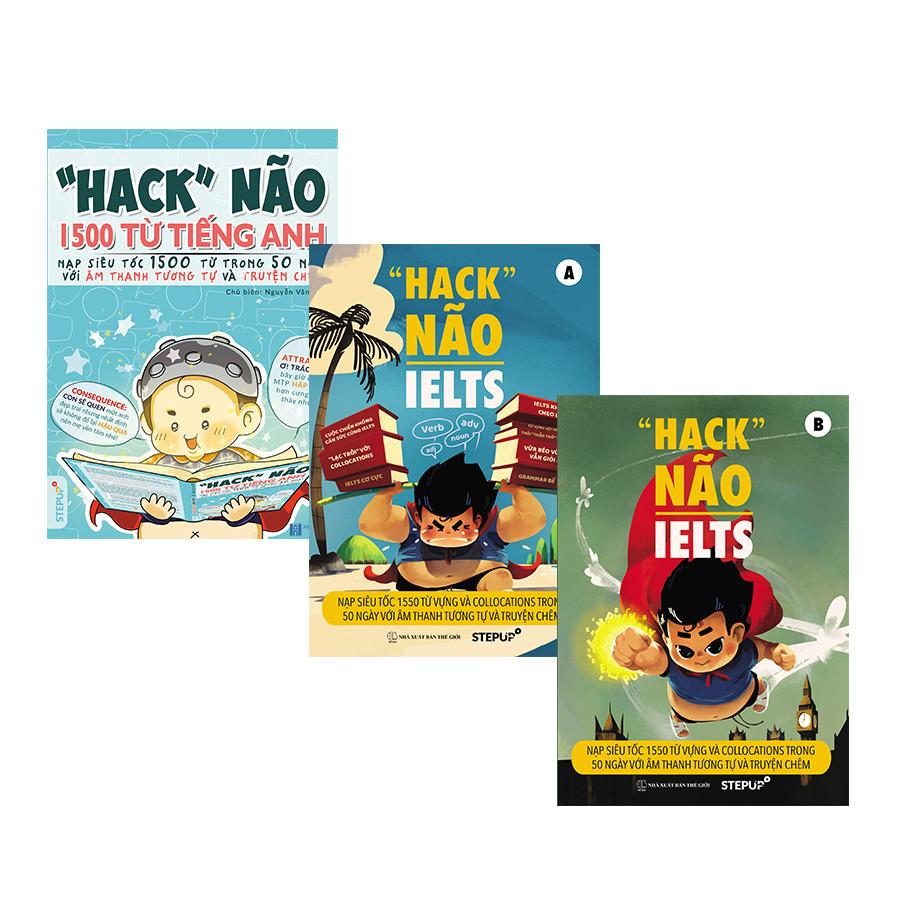 """Combo """"Hack não 1500 từ tiếng Anh"""" + """"Hack não IELTS"""" (Trọn bộ 3 cuốn)"""