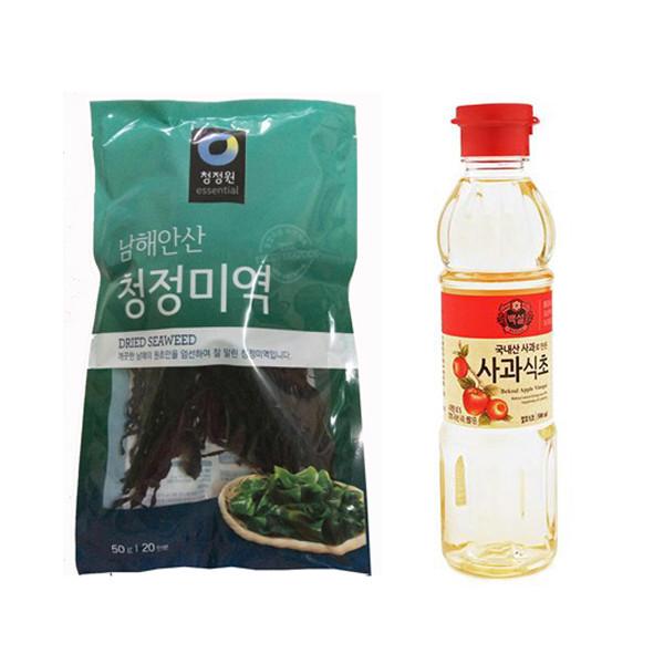 Combo 1 Gói Rong Biển Khô Daesang Hàn Quốc 50gr và 1 Chai Dấm Táo Hàn Quốc Beksul 500 Ml