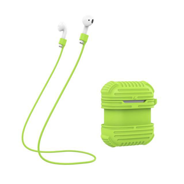 2 in 1 Non-slip Silicone Case Cover Anti-lost Wire Eartips Strap for Airpods Wireless Headphone Set Accessories