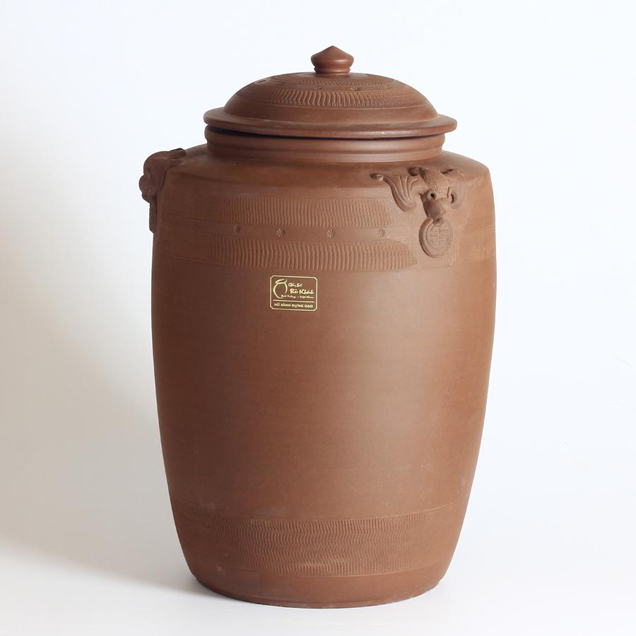 Hũ sành đựng gạo Phúc Lộc đắp nổi họa tiết Dơi ngậm tiền cao cấp 10kg, 20kg, 30kg chính hãng Bát Tràng - thùng...