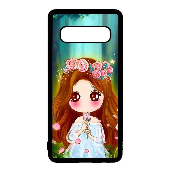Ốp lưng điện thoại dành cho Samsung S10 Plus Anime Cô Gái Cầm Hoa Hồng