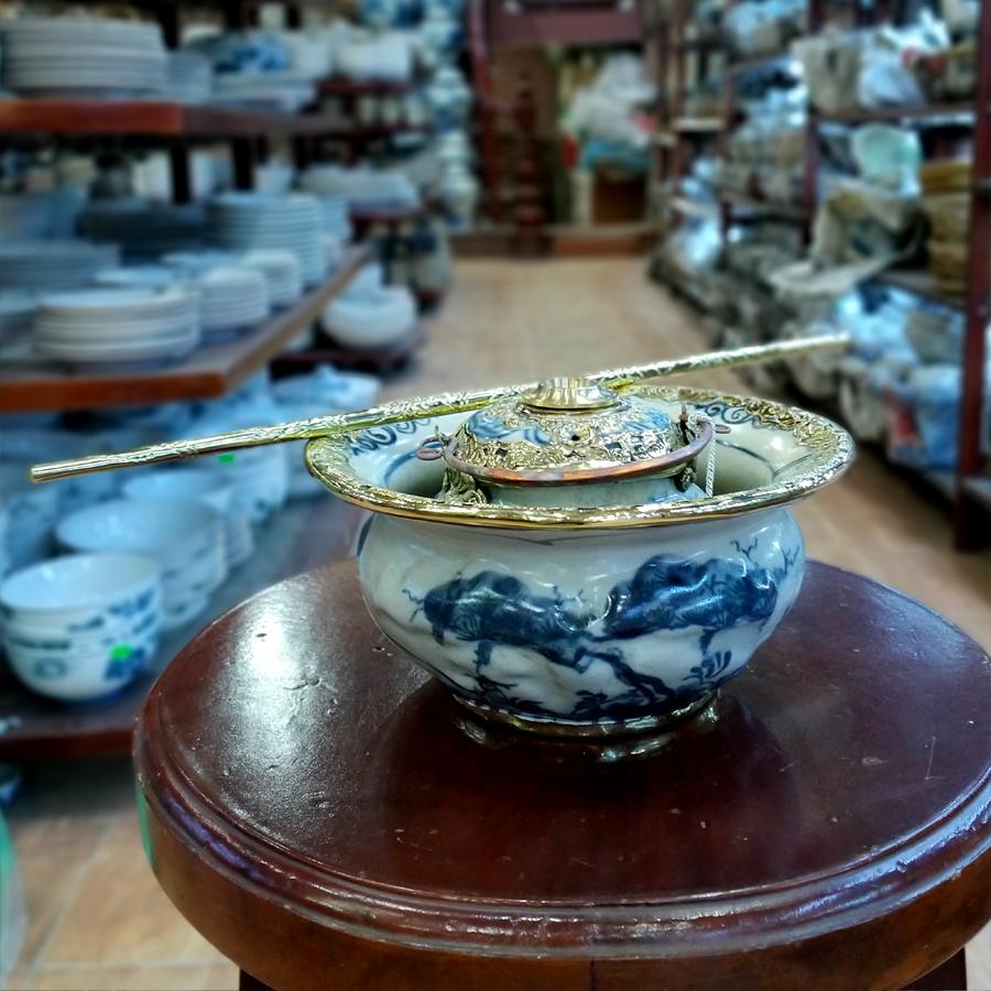 Điếu bát men rạn bọc đồng đắp nổi cây Tùng chính hãng gốm sứ Bát Tràng - điếu hút thuốc lào cao cấp