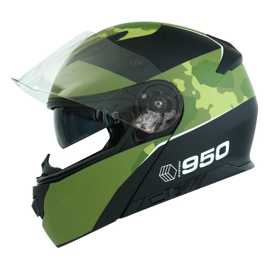Mũ Bảo Hiểm Lật Hàm Yohe 950 Màu Xanh Lính