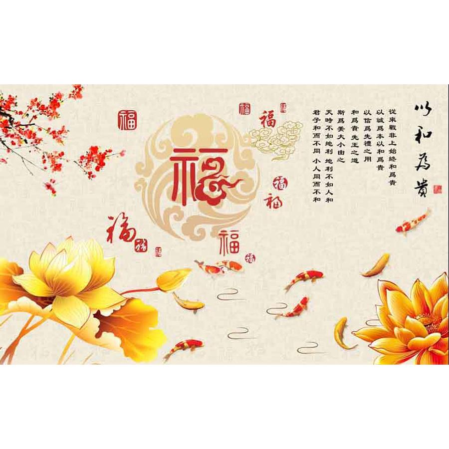 Tranh dán tường 3d | Tranh dán tường phong thủy hoa sen cá chép 3d 341