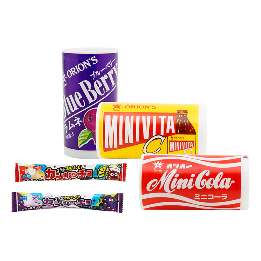 Combo 3 Ống Kẹo Orion Mini (Cola, Việt Quất, Vitamin C) Và 2 Thanh Kẹo Mềm Coris (Cola, Soda)