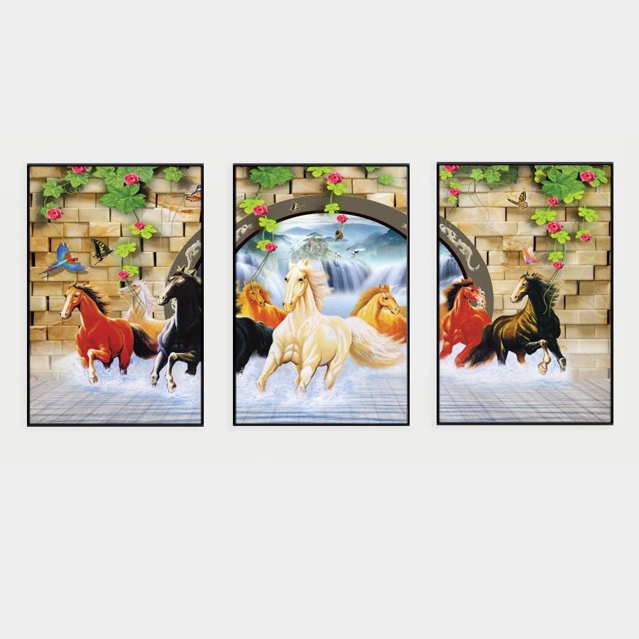 Bộ 3 Tranh Canvas mã đáo thành công T018 (40x60)