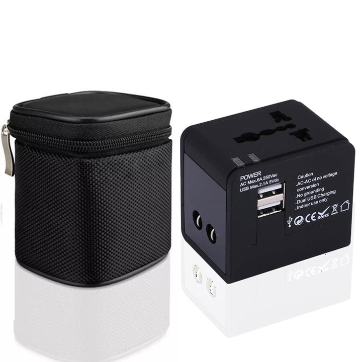 Adapter chuyển ổ cắm du lịch 2 cổng USB 2.1A túi kéo - Hàng Chính Hãng