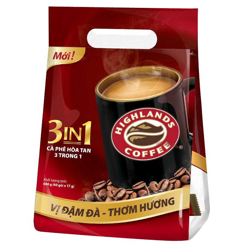 Cà Phê Highlands Coffee 3in1 Hòa Tan (40 Gói x 17g)