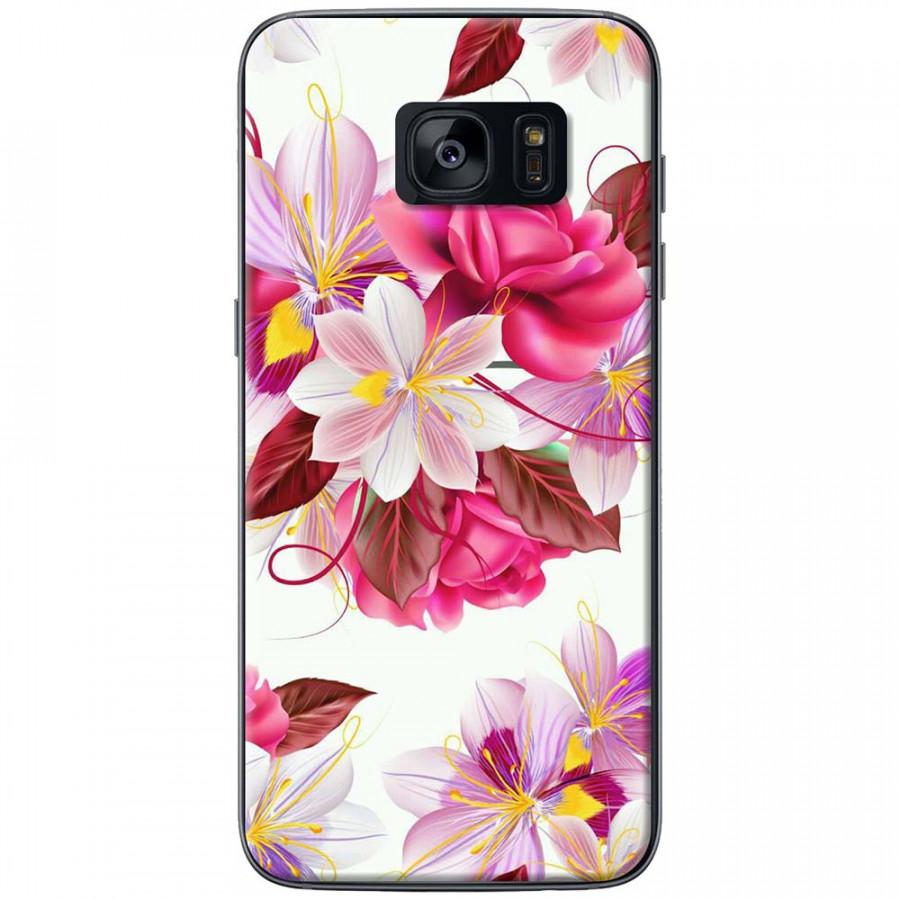 Ốp lưng dành cho Samsung S7 Edge mẫu Hoa hồng trắng