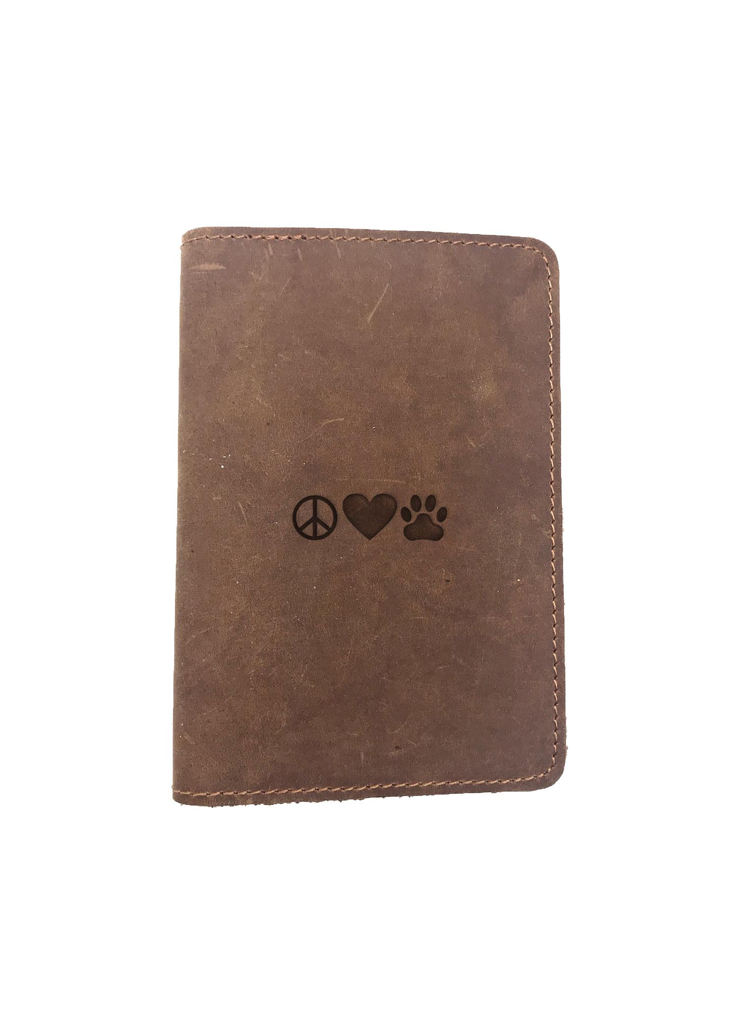Passport Cover Bao Da Hộ Chiếu Da Sáp Khắc Hình Chữ PEACE LOVE PET (BROWN)