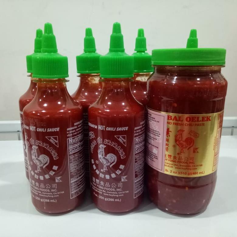 Combo 7 chai tương ớt sriracha Huy Fong Foods 266 ml và sambal oelek 460 ml