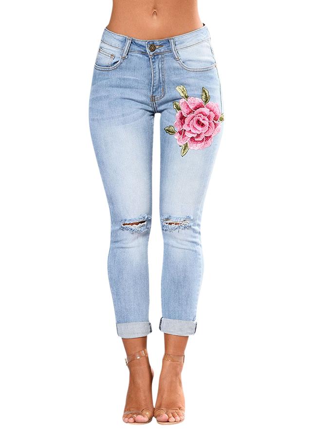 Quần Jeans Nữ Thêu Hoa Hồng - Xanh Nhạt