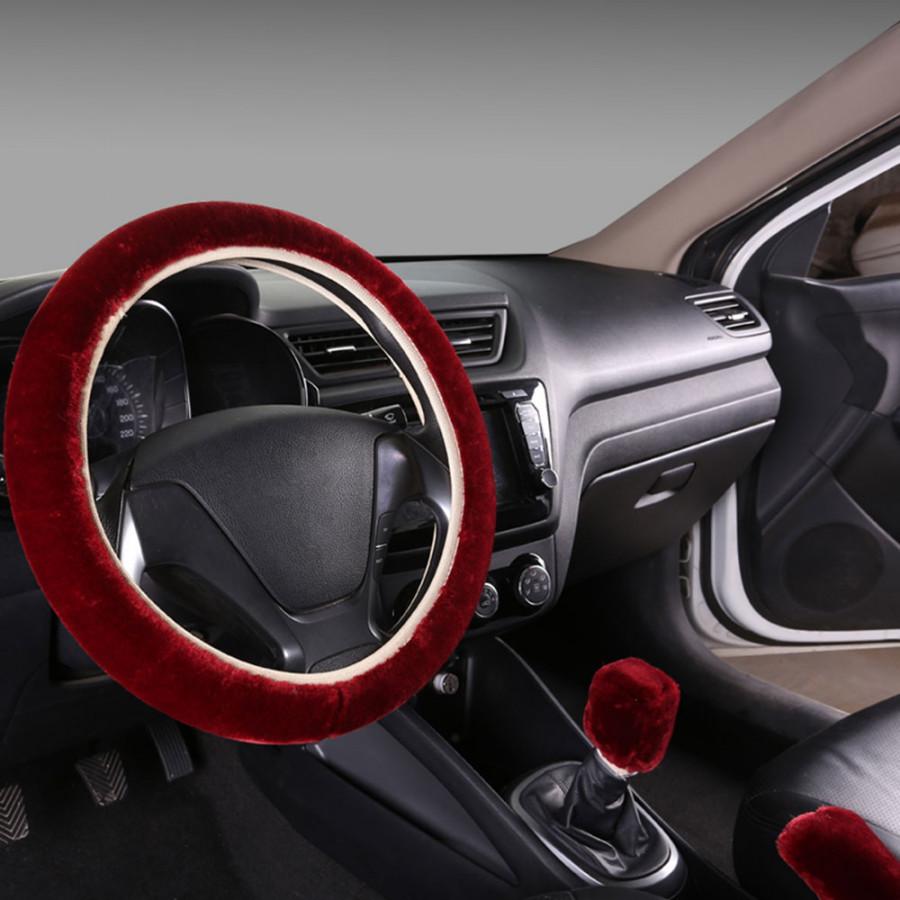 Car Steering Wheel Cover Steering Wheel Cover Sets Warm Plush 3pcs/1set Antiscratch Winter Supplies Handle Sleeves