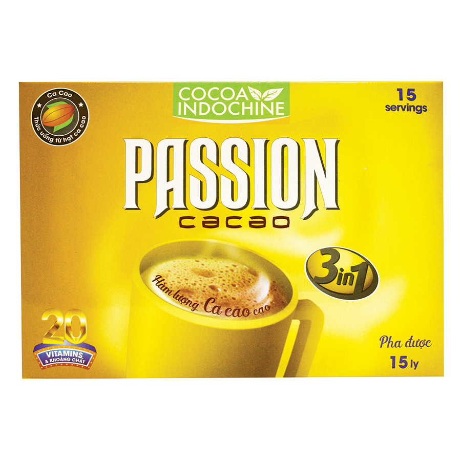 Bột Cacao Hòa Tan Passion 3 In 1 Cocoa Indochine (Hộp 15 Gói x 16g)