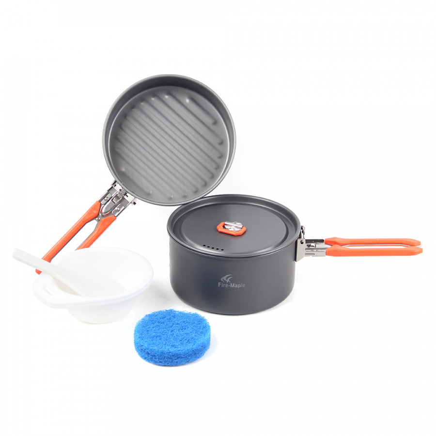 Outdoor Camping 6Pcs Cookware Kit Hiking Pinic Cooking Fry Pan Pot Set With Foldable Handle For 1 - 2 People