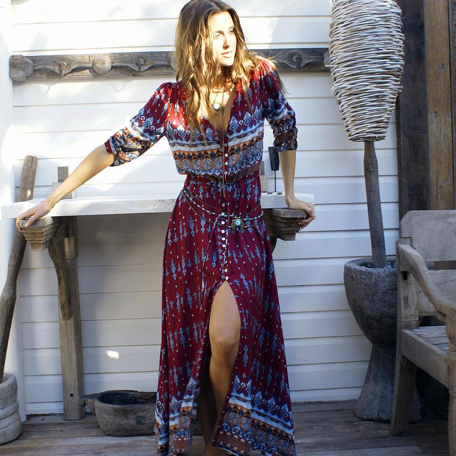 Váy Dài Chít Eo Cài Nút Phía Trước