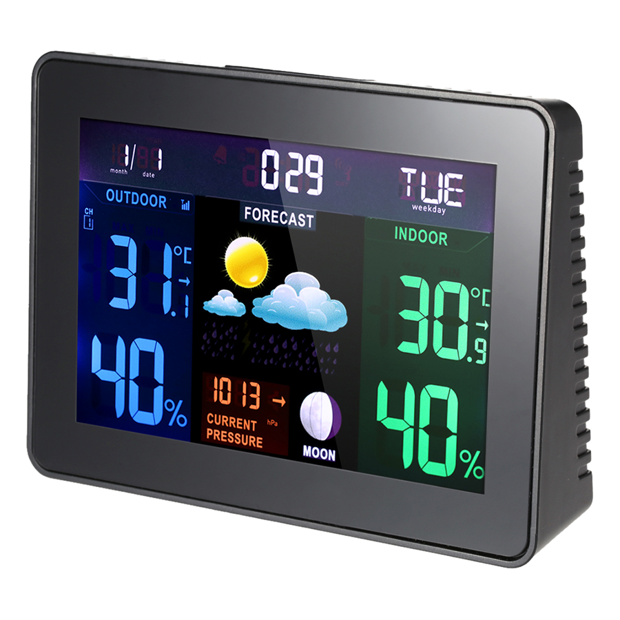 Multi-functional Digital LCD Wireless Weather Station Clock Alarm Snooze Function Indoor Outdoor Thermometer Hygrometer (120v)