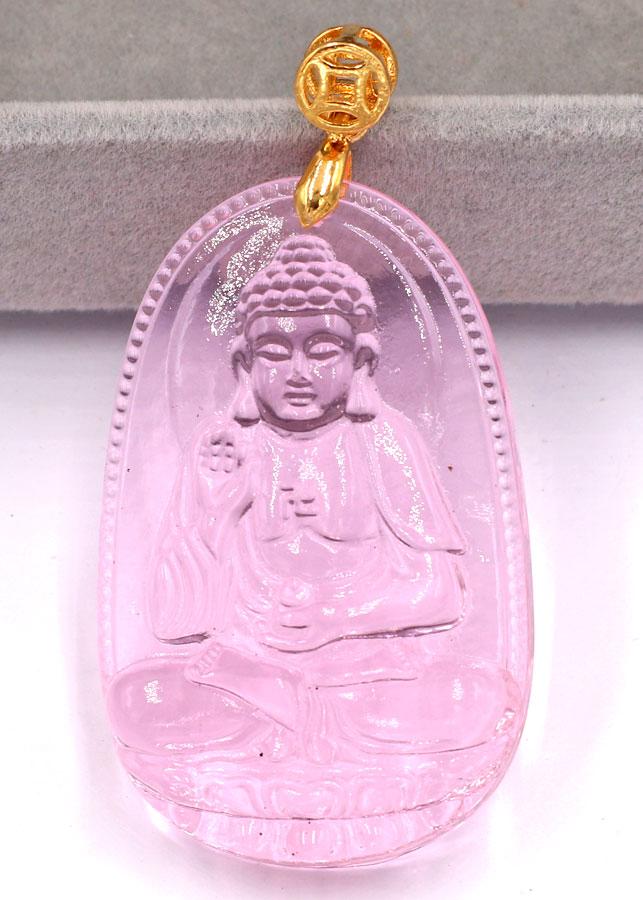 Mặt Phật A Di Đà - pha lê hồng 5cm - tuổi Tuất và tuổi Hợi