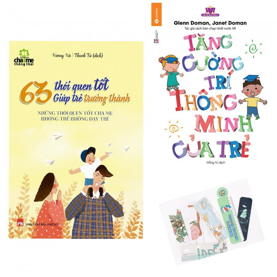 Combo 2 Cuốn: Tăng Cường Trí Thông Minh Của Trẻ + 63 Thói Quen Tốt Giúp Trẻ Trưởng Thành - Tặng Kèm Bookmark AHA