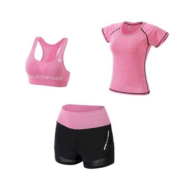 Bộ quần áo thể thao nữ tập Gym Yoga 3in1 (Gồm áo phông, áo ngực, quần đùi), chất vải thoáng mát cao cấp - POKI