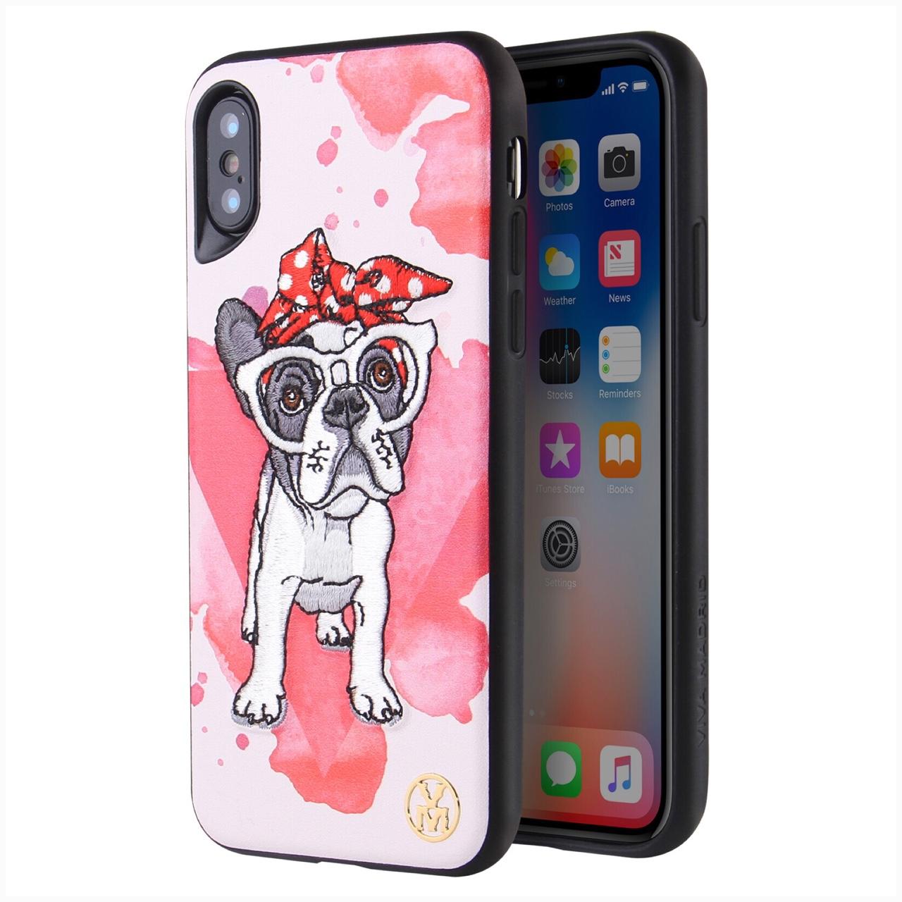 Ốp Lưng Dành Cho iPhone X hiệu VIVA Perro Bow - Hồng Trắng