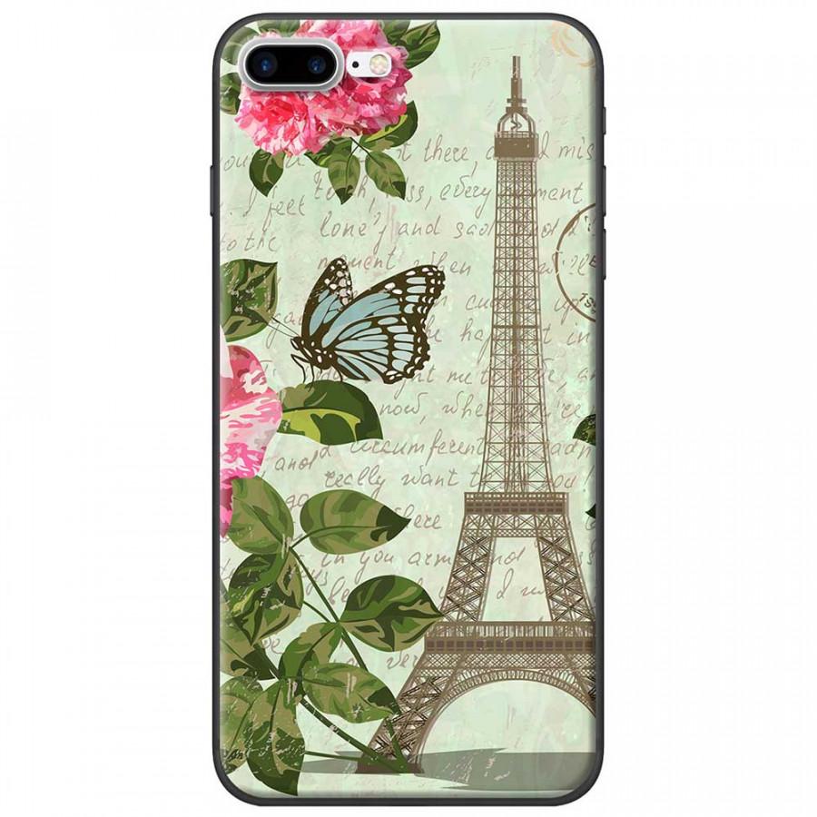 Ốp lưng dành cho iPhone 7 Plus mẫu Tháp Effiel con bướm