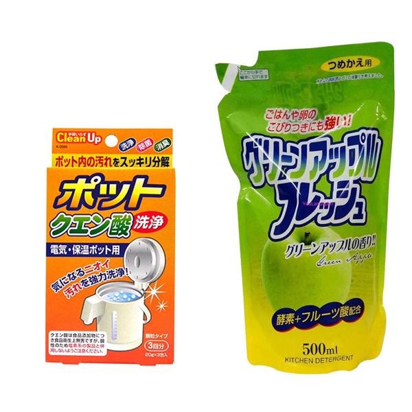 Combo 3 gói khử cặn bình nước + nước rửa chén hương táo loại túi 500 ml Rocket nội địa Nhật Bản - 1329805 , 7393551620241 , 62_13428178 , 155500 , Combo-3-goi-khu-can-binh-nuoc-nuoc-rua-chen-huong-tao-loai-tui-500-ml-Rocket-noi-dia-Nhat-Ban-62_13428178 , tiki.vn , Combo 3 gói khử cặn bình nước + nước rửa chén hương táo loại túi 500 ml Rocket nội