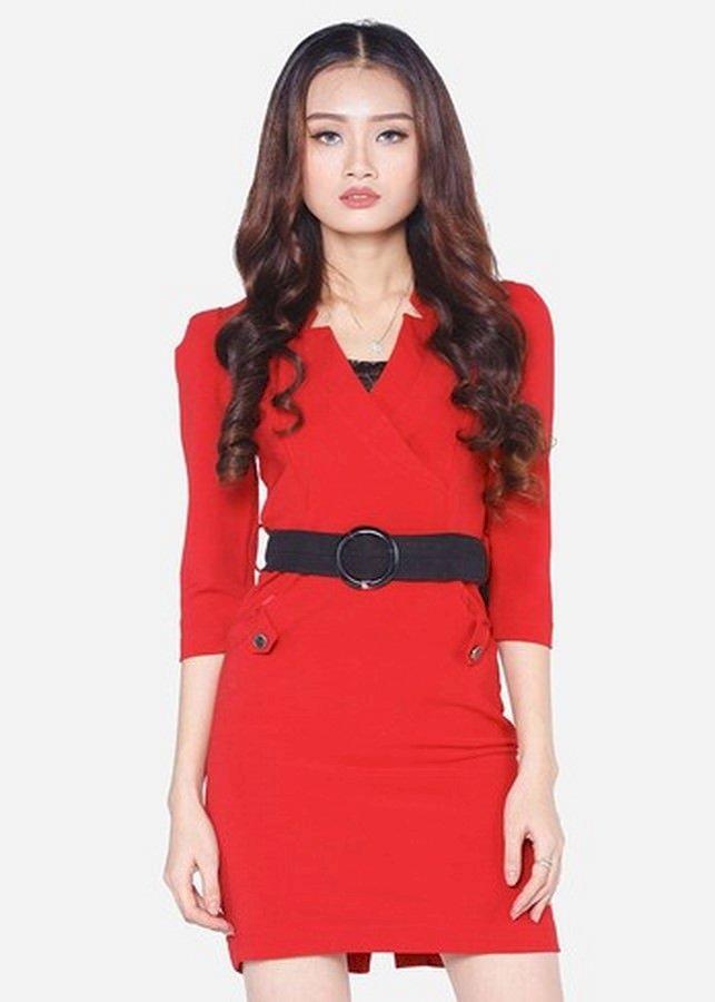 Đầm Nữ Cổ V Đai Đen - Đỏ