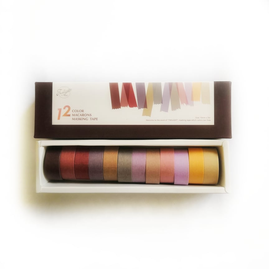 Băng keo giấy trang trí Washi tape Twilight 12 cuộn Morandi colors (15mmx3mx12) - 12 Color macarons Masking tape WS012
