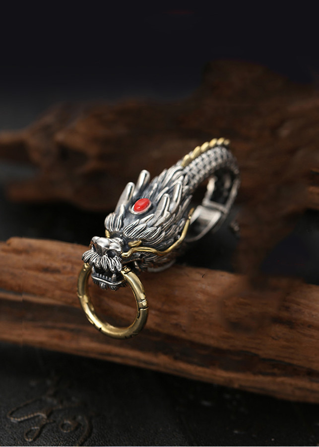 Mặt Móc Chìa Khóa Đầu Rồng Đá Đỏ Bạc Thái