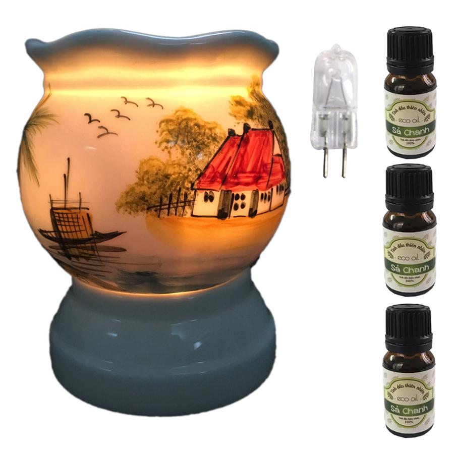 Đèn xông tinh dầu size L AH01 và 3 tinh dầu sả chanh Eco 10ml và 1 bóng đèn