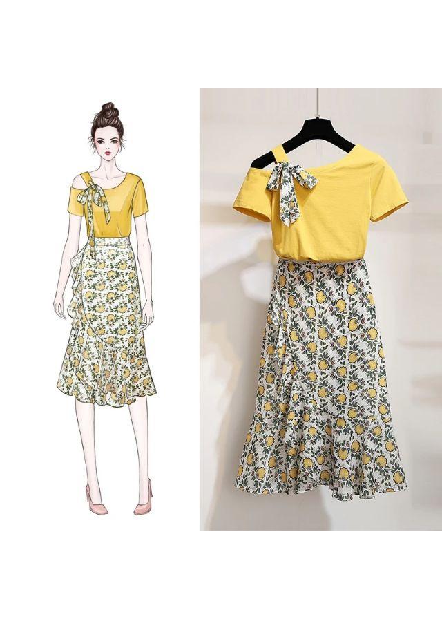 Set thiết kế áo thun lệch vai chân váy voan hoa