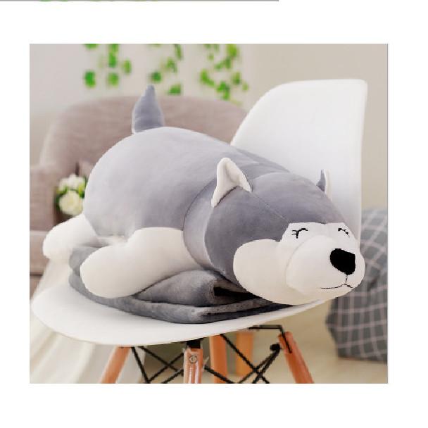 Bộ Gối kèm mền ngủ trưa văn phòng, học bán trú Hình chó Husky, Gấu trắng Pola, Gấu Panda siêu to dài 75cm