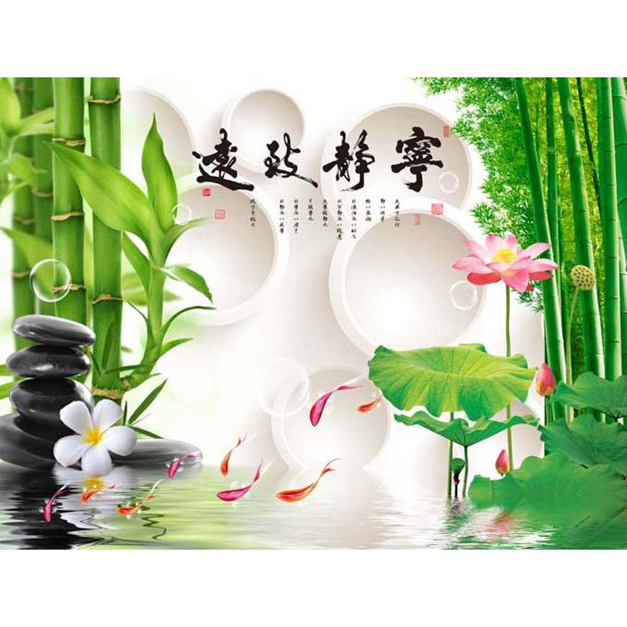 Tranh dán tường 3d | Tranh dán tường phong thủy hoa sen cá chép 3d 335