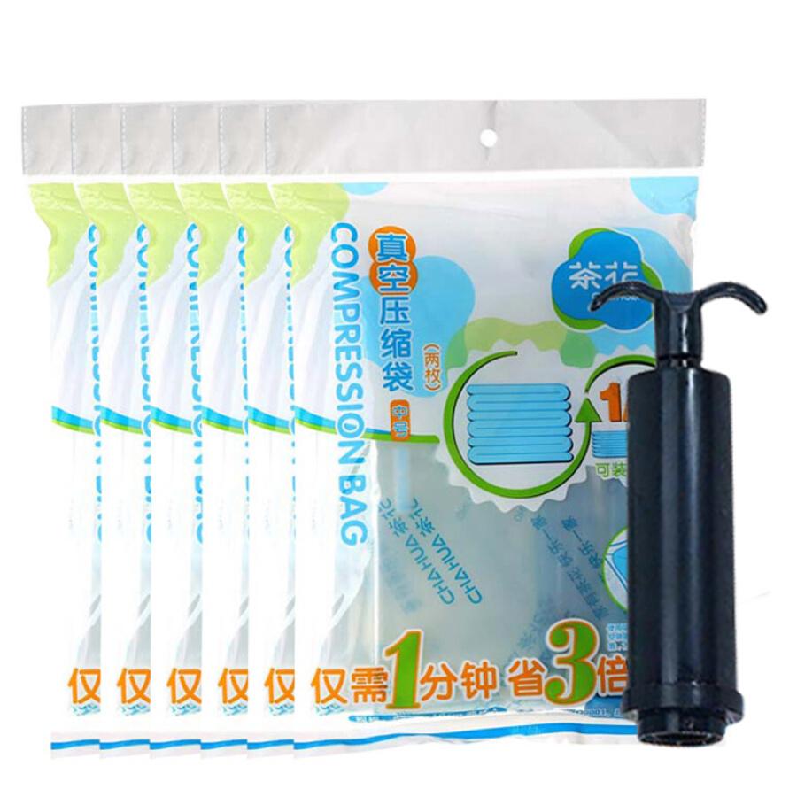 Camellia vacuum thickening compression bag storage bag cotton quilt travel bag 6 piece set 6 medium hand pump